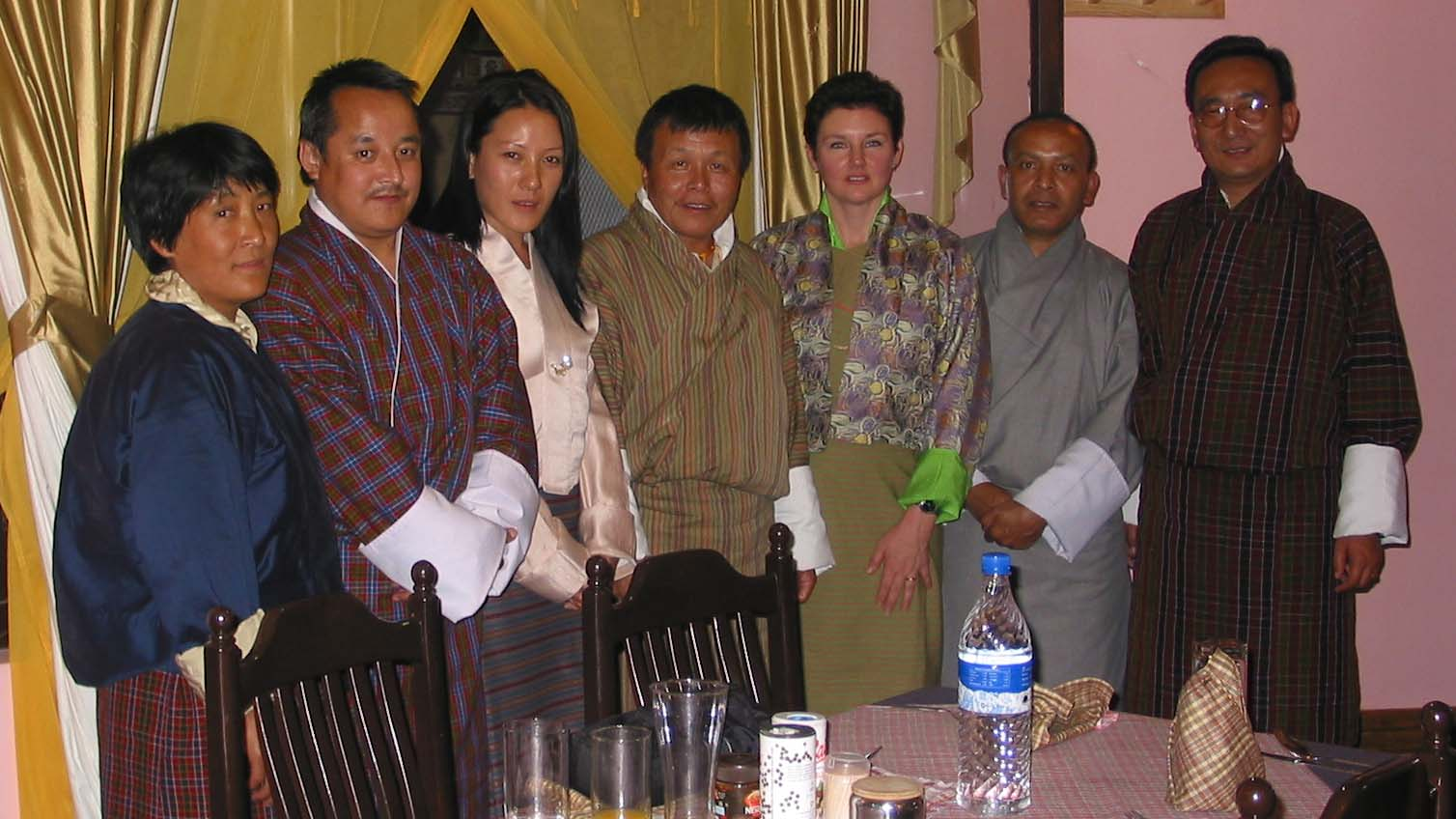 A memorable dinner in Paro, 2005
