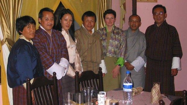 A memorable dinner in Paro, 2005